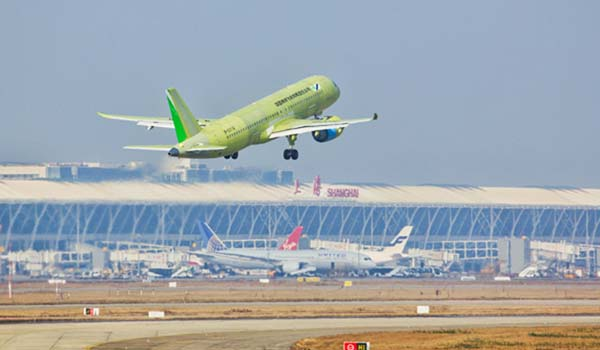 SHANGHAI, Dec. 27, 2019 (Xinhua) -- The sixth test plane of the Chinese-produced large passenger jet, C919, takes off from Shanghai Pudong International Airport in Shanghai, east China, Dec. 27, 2019. The sixth test plane of the C919 completed its maiden flight Friday. Taking off at 10:15 a.m. at Shanghai Pudong International Airport, the jet flew for 2 hours and 5 minutes, mainly testing the cabin, lighting and external noise. n The fourth and fifth jets completed their maiden test flights in August and October. n The other five jets are carrying out test flights in Shanghai, the northwestern city of Xi'an, and the eastern cities of Dongying and Nanchang. (Xinhua/IANS)