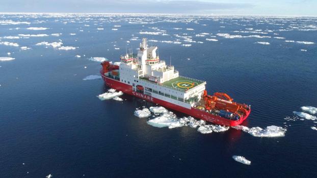 (200121) -- ABOARD XUELONG 2, Jan. 21, 2020 (Xinhua) -- Aerial photo taken on Dec. 20, 2019 shows China's polar icebreaker Xuelong 2, or Snow Dragon 2, conducting scientific researches in the Cosmonauts Sea. (Xinhua/Liu Shiping)