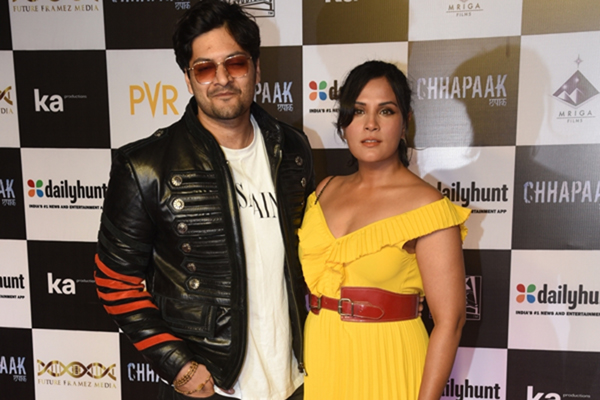 "Mumbai: Actors Ali Fazal and Richa Chaddha at the screening of the film ""Chhapaak"" in Mumbai on Jan 8, 2020. (Photo: IANS)"