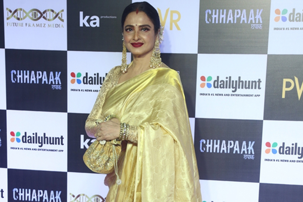 "Mumbai: Actress Rekha at the screening of the film ""Chhapaak"" in Mumbai on Jan 8, 2020. (Photo: IANS)"