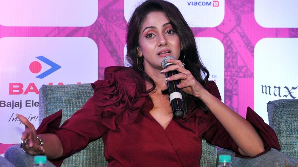"""Kolkata: Actor and Model Trina Saha at a press conference during the """"4rd edition of Pinkathon Kolkata 2020"""", in Kolkata on Feb 20, 2020. (Photo: Kuntal Chakrabarty/IANS)"""