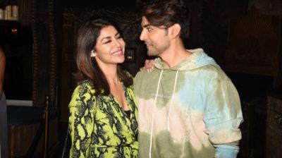 Mumbai: Actor Gurmeet Choudhary with his wife Debina Bonnerjee during his birthday celebrations in Mumbai on Feb 22, 2020. (Photo: IANS)