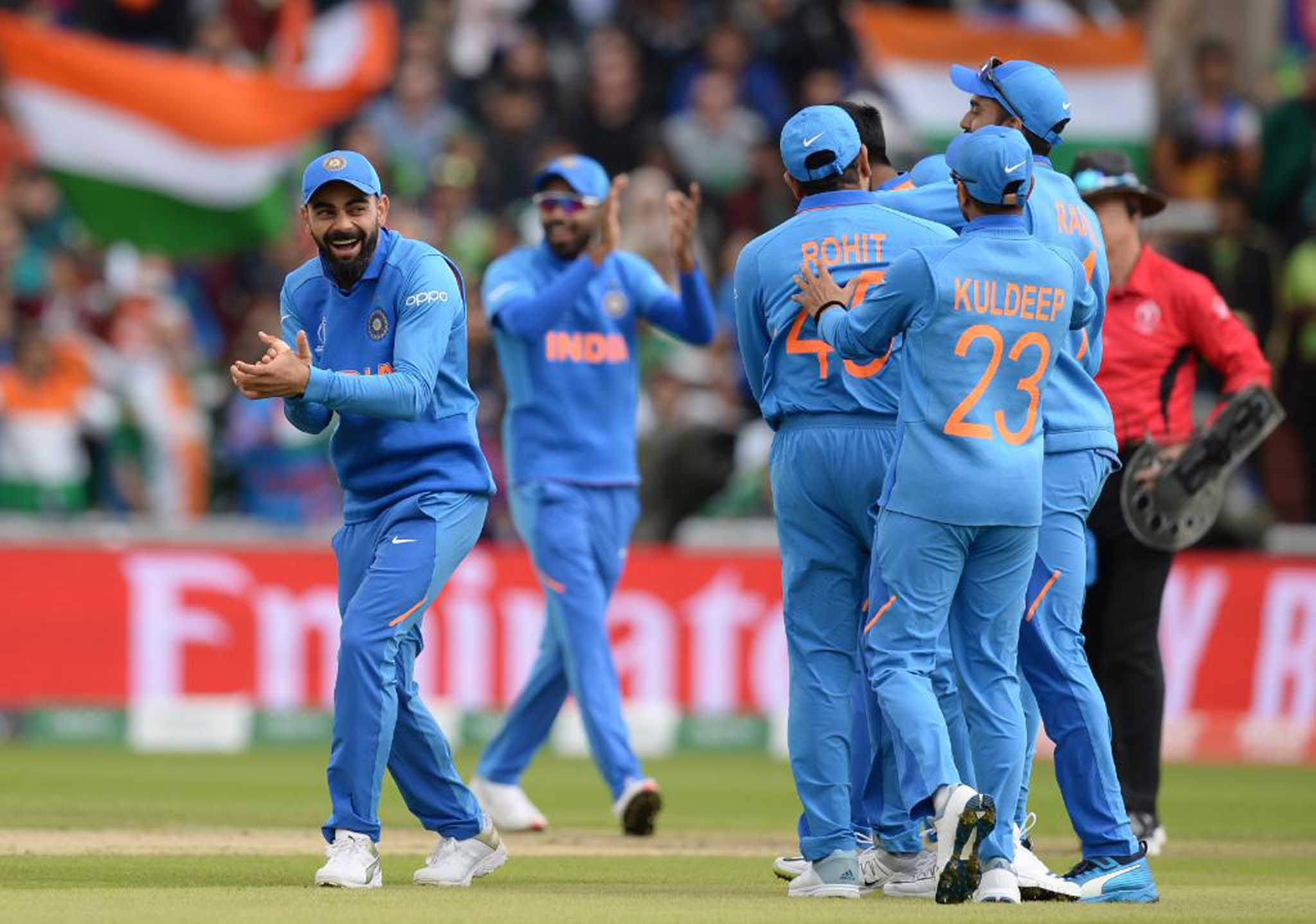MANCHESTER, JUNE 16 (UNI):- Indian skipper Virat Kohli and teammates celebrates after win the match against Pakistan at World Cup 2019 at Old Trafford Cricket Ground, in Manchester on Sunday. UNI/ICC PHOTO-31C