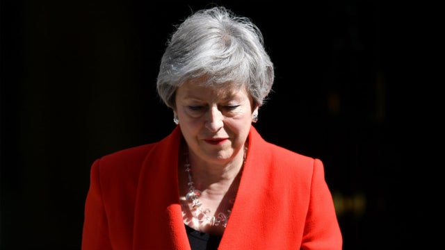 Theresa May strikes a note of emotion before leaving Downing Street