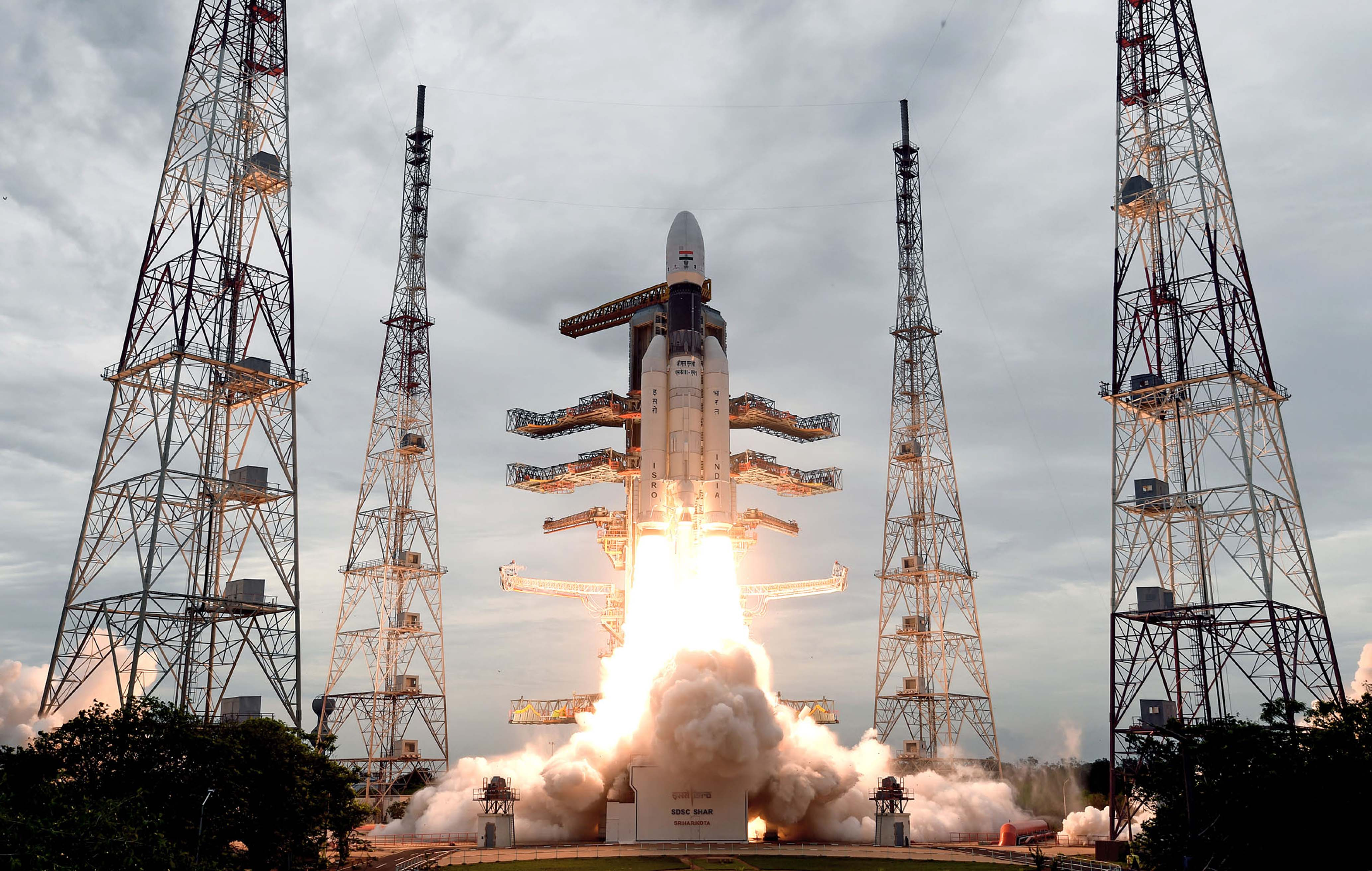 Geosynchronous Satellite Launch Vehicle, GSLV MkIII-M1 rocket, carrying Chandrayaan-2 spacecraft, lifting off from the Second Launch Pad at the Satish Dhawan Space Centre, Sriharikota, in Andhra Pradesh on Monday.