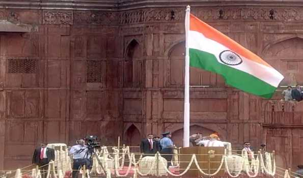 PM unfurls national flag at Red Fort: Highlights J&K measures, other works by his Govt