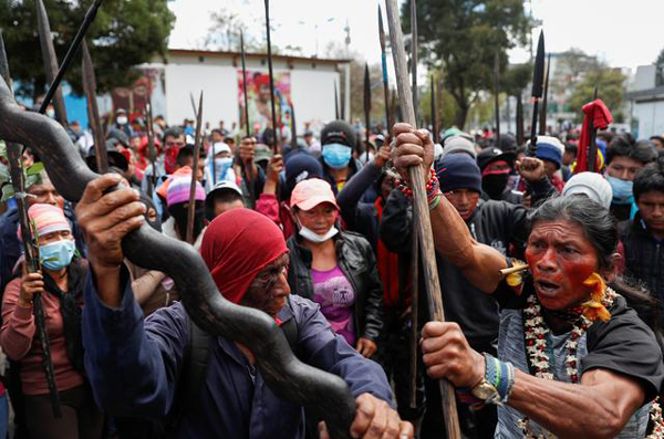 Ecuador's Amazon tribes join anti-austerity protests