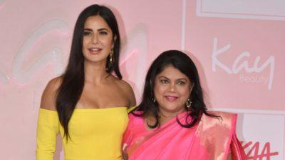 MUMBAI, OCT 22 (UNI)- Bollywood actor Katrina Kaif with Falguni Nayar, Founder and CEO of Nykaa poses during the launch of her Kay Beauty brands in partnership with Nykaa, in Mumbai on Tuesday.UNI PHOTO-67U