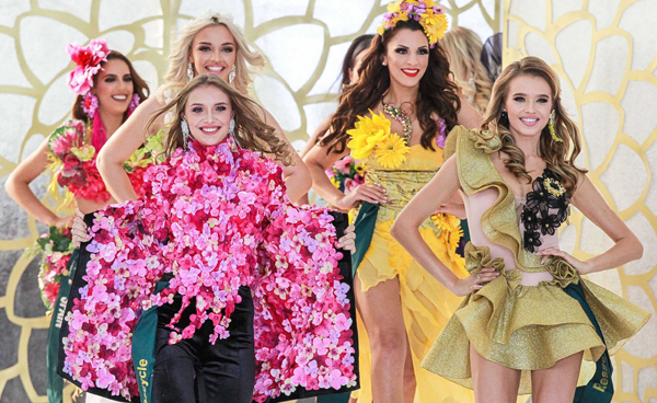 PARANAQUE, Oct. 27, 2019 (Xinhua) -- Contestants pose for photos during the Miss Earth 2019 coronation night in Paranaque City, the Philippines, Oct. 26, 2019. 85 candidates from around the world competed in the contest. Nellys Pimentel of Puerto Rico won the Miss Earth 2019 title. Xinhua/UNI PHOTO-9F