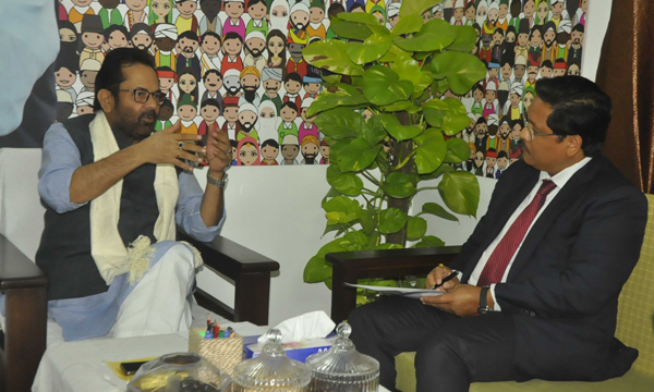NEW DELHI, OCT 22 (UNI):- Meghalaya Chief Minister Conrad Sangma meeting Union Minority Affairs Minister Mukhtar Abbas Naqvi in New Delhi on Tuseday.UNI PHOTO-53U