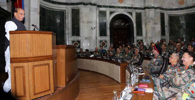 NEW DELHI, OCT 18 (UNI):- Defence Minister Rajnath Singh addressing Army Commanders at the Army Commanders' Conference in New Delhi on Friday. UNI PHOTO-73U