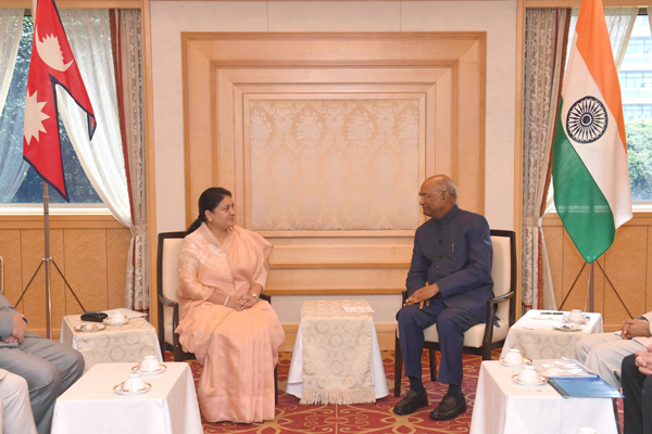 TOKYO, OCT 22 (UNI):- President Ram Nath Kovind meeting with Bidya Devi Bhandari President of Nepal at Imperial Hotel, in Tokyo, Japan on Tuesday. UNI PHOTO-7F