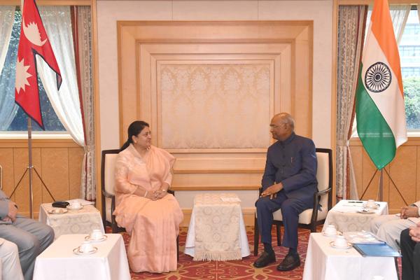 TOKYO, OCT 22 (UNI):- President Ram Nath Kovind meeting with Bidya Devi Bhandari President of Nepal at Imperial Hotel, in Tokyo, Japan on Tuesday. UNI PHOTO-7F