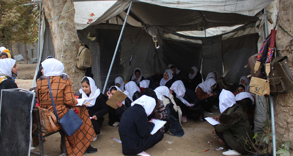 BALKH, Nov. 24, 2019 (Xinhua) -- Afghan students study under a tent used as a classroom at the Mawlana Jalaludin Mohammad Balkhi School in Mazar-i-Sharif, capital of Balkh province, Afghanistan, Nov. 23, 2019 (Photo by Yaqoub Azorda/Xinhua/UNI PHOTO-15F