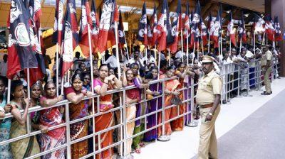 CHENNAI, NOV 19 (UNI):-AIADMK workers waiting outside the Chennai Airport to welcome Tamil Nadu Deputy Chief Minister O Panneerselvam Monday night. UNI PHOTO TK 5 U