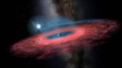 """BEIJING, Nov. 28, 2019 (Xinhua) -- This photo shows the artistic rendering of the black hole LB-1. A Chinese-led research team has discovered a surprisingly huge stellar black hole about 14,000 light-years from Earth -- our """"backyard"""" of the universe -- forcing scientists to re-examine how such black holes form. The team, headed by Liu Jifeng, of the National Astronomical Observatory of the Chinese Academy of Sciences (NAOC), spotted the black hole, which has a mass 70 times greater than the Sun. Researchers named the monster black hole LB-1. Xinhua/UNI PHOTO-10F"""