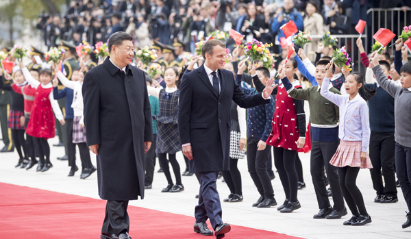 BEIJING, Nov. 6, 2019 (Xinhua) -- Chinese President Xi Jinping holds a welcome ceremony for French President Emmanuel Macron before their talks in Beijing, capital of China, Nov. 6, 2019. Xinhua/UNI PHOTO-10F