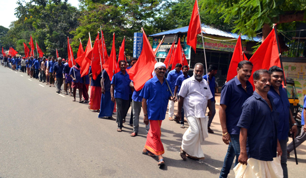 CITU staging a day-night strike in front of Kerala Secretariat