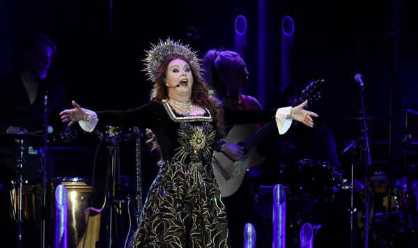 RIGA, Nov. 4 (Xinhua) -- English singer Sarah Brightman performs at her concert world tour in Riga, Latvia, on Nov. 3, 2019. Xinhua/UNI PHOTO-3F