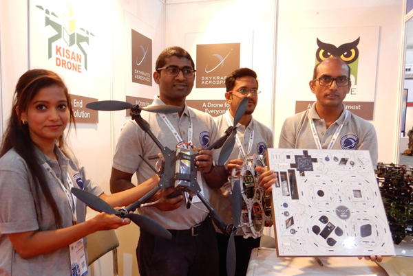 BENGALURU, NOV 18 (UNI) :- An exhibitor display drone during the inauguration of Bengaluru Tech Summit 2019 at Palace Ground in Bengaluru on Monday., UNI PHOTO SLP/9U