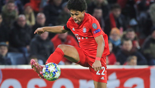 MUNICH, Nov. 7, 2019 (Xinhua) -- Serge Gnabry of Bayern Munich controls the ball during a UEFA Champions League group B match between FC Bayern Munich of Germany and Olympiacos Piraeus of Greece in Munich, Germany, on Nov. 6, 2019. (Photo by Philippe Ruiz/Xinhua/UNI PHOTO-3F