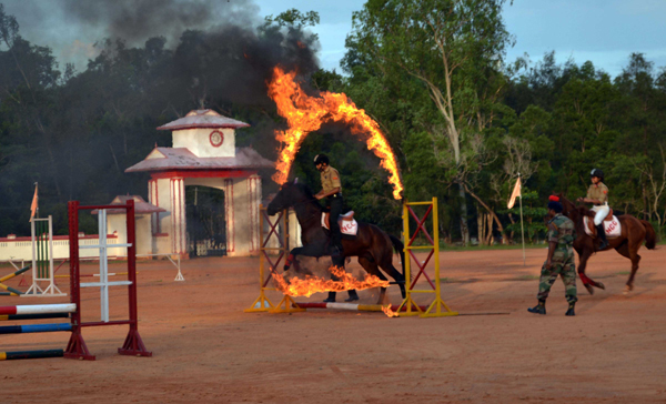 THIRUVANANTHAPURAM, NOV 28 (UNI)- A view of Horse riding programme, during the Celebration of 71st National Cadet Corps (NCC) in Thiruvananthapuram on Thursday.UNI PHOTO-86U