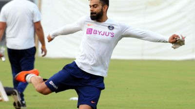 KOLKATA NOV 20 (UNI ) Indian players warming up rigorously at Eden Gardens led by skipper Virat Kohli on the eve of the historic pink ball test in Kolkata today. UNI PHOTO CAL 9