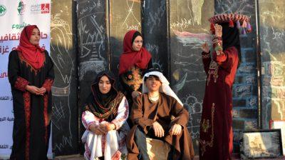 GAZA, NOV 19 (Xinhua) -- Palestinians show traditional Palestinian dress during a heritage exhibition in Maghazi refugee camp, central Gaza Strip, Nov. 18, 2019. Xinhua/UNI PHOTO-7F