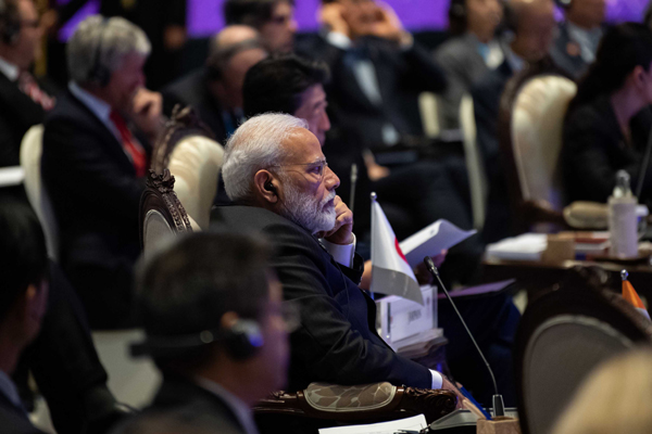BANGKOK, Nov. 4, 2019 (Xinhua) -- Indian Prime Minister Narendra Modi attends the 14th East Asia Summit in Bangkok, Thailand, Nov. 4, 2019. The summit is an annual regional event gathering 10 members of the Association of Southeast Asian Nations (ASEAN), as well as China, Japan, South Korea, India, Australia, New Zealand, Russia and the United States. Xinhua/UNI PHOTO-17F