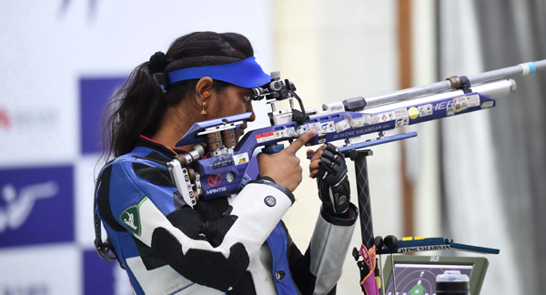 PUTIAN, Nov. 21, 2019 (Xinhua) -- Elavenil Valarivan of India competes during the women's 10m air rifle final at the ISSF World Cup Final in Putian, southeast China's Fujian Province, Nov. 21, 2019. Xinhua/UNI PHOTO-14F