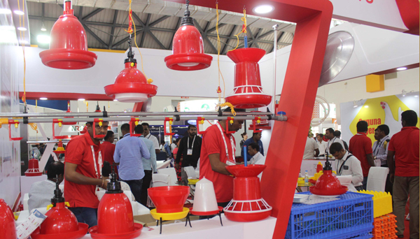 "HYDERABAD, NOV 27 (UNI) :- Stall display the Poultry equipment during 13th "" Poultry India 2019"" in Hyderabad on Wednesday. UNI PHOTO - RJ7u"