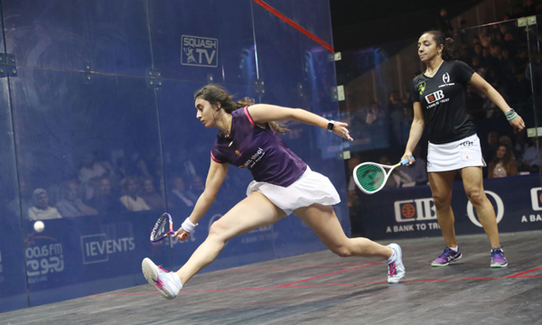 GIZA, Nov. 2, 2019 (Xinhua) -- Nour El Sherbini (L) of Egypt competes with Raneem El Welily of Egypt during the Women's Squash World Championship final in Giza, Egypt, on Nov. 1, 2019. (Xinhua/UNI PHOTO-2F