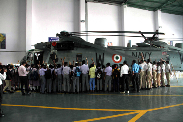 Students from various schools of Mumbai participated on Air Display at INS Shikra