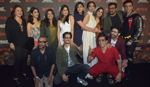 "Mumbai: Directors Karan Johar, Zoya Akhtar, Anurag Kashyap and Dibakar Banerjee with actors Janhvi Kapoor, Mrunal Thakur, Avinash Tiwary, Raghuvir Yadav, Sobhita Dhulipala, Vijay Varma and Pavail Gulati at the screening of their upcoming Netflix film ""Ghost Stories"" in Mumbai on Dec 23, 2019. (Photo: IANS)"