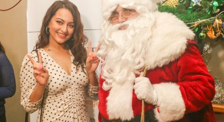 Mumbai: Actress Sonakshi Sinha celebrates Christmas with underprivileged kids in Mumbai on Dec 21, 2019. (Photo: IANS)