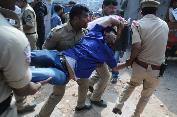 Hyderabad: Agitators being detained after they protested against the Citizenship Amendment Act (CAA) 2019 and National Register of Citizens (NRC) despite being denied the permission by police to carry out any form of demonstrations, processions and rallies, in Hyderabad on Dec 19, 2019. (Photo: IANS)
