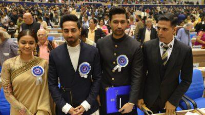 New Delhi: Actors Keerthy Suresh, Ayushmann Khurrana, Vicky Kaushal and Akshay Kumar during 66th National Film Awards in New Delhi on Dec 23, 2019. (Photo: IANS)