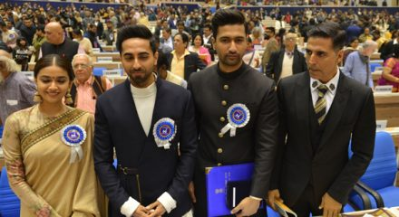 New Delhi: Actors Keerthy Suresh, Ayushmann Khurrana, Vicky Kaushal and Akshay Kumar during 66th National Film Awards in New Delhi on Dec 23, 2019. (Photo: IANS)