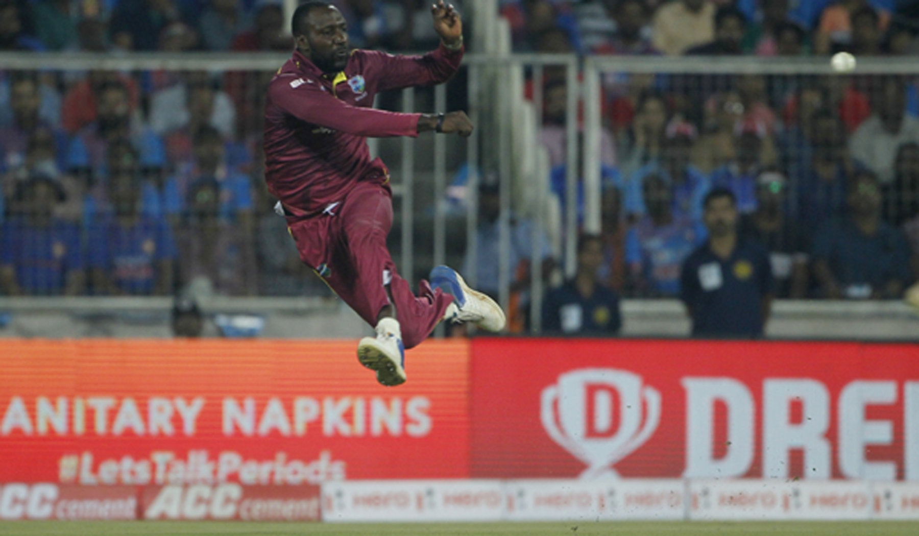 Thiruvananthapuram: West Indies' Kesrick Williams in action during the second T20I match between India and West Indies at the Greenfield International Stadium in Thiruvananthapuram, Kerala on Dec 8, 2019. (Photo: Surjeet Yadav/IANS)
