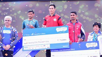 Winners of Pune Half Marathon 2019 (Men).