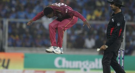 Thiruvananthapuram: West Indies' Hayden Walsh Jr. during the second T20I match between India and West Indies at the Greenfield International Stadium in Thiruvananthapuram, Kerala on Dec 8, 2019. (Photo: Surjeet Yadav/IANS)