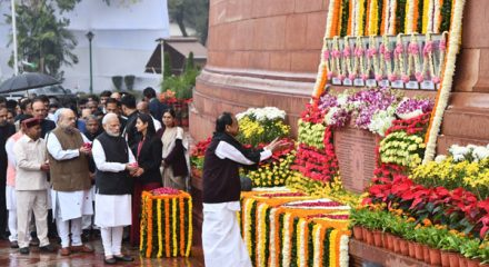 New Delhi: Vice President M. Venkaiah Naidu pays tributes to the martyrs on 18th anniversary of Parliament attack at Parliament House in New Delhi on Dec 13, 2019. Also seen Prime Minister Narendra Modi, Union Home Minister Amit Shah, Union Minister Thawar Chand Gehlot and Congress MP Ghulam Nabi Azad. (Photo: IANS)