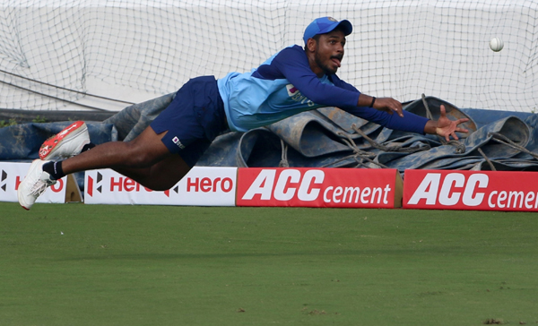 Hyderabad: India's Sanju Samson during a practice session ahead of the first Twenty20 match against West Indies at Rajiv Gandhi International Cricket Stadium in Hyderabad on Dec 5, 2019. (Photo: Surjeet Yadav/IANS)