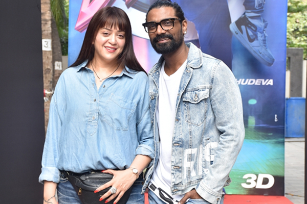 """Mumbai: Director Remo D'Souza with his wife Lizelle D'Souza at the launch of the song """"Muqabla"""" from his upcoming film """"Street Dancer 3D"""" in Mumbai on Dec 21, 2019. (Photo: IANS)"""