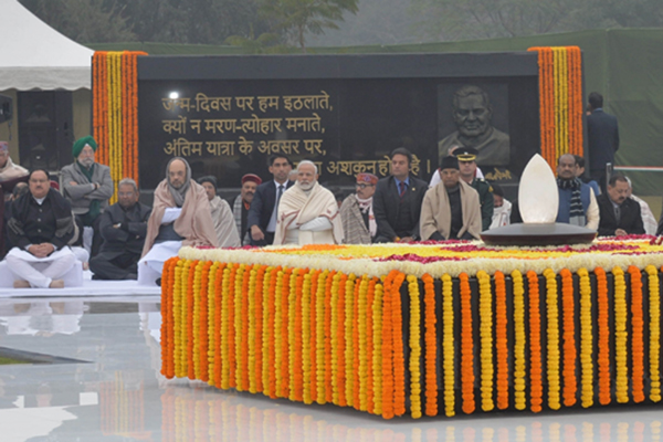 President Ram Nath Kovind, Prime Minister Narendra Modi, Union Home Minister Amit Shah with other ministers and BJP leaders paid homage to former Prime Minister Atal Bihari Vajpayee on the occasion of his birth anniversary in New Delhi on DEC. 25, 2019. (PHOTO: IANS / RB)