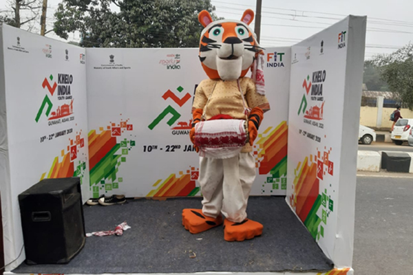 The Khelo India Youth Games mascot taken around the city of Guwahati ahead of the third edition of the competition.