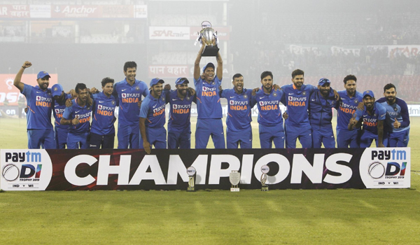 Cuttack: Indian team with the Trophy after winning the three-match one day international (ODI) series against West Indies 2-1 at the Barabati Stadium in Cuttack, Odisha, on Dec 22, 2019. (Photo: Surjeet Yadav/IANS)