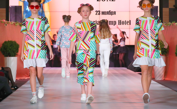 (191123) -- MINSK, Nov. 23, 2019 (Xinhua) -- Children models present new children's wear during the Kids Fashion Zone, a children's wear sale exhibition for charity, in Minsk, Belarus, Nov. 23, 2019. The activity was held here to mark the World Children's Day of 2019. (Xinhua/Henadz Zhinkov)