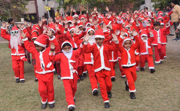 Patna: Children participate in Christmas celebrations at their school ahead of the festival, in Patna on Dec 23, 2019. (Photo: IANS)
