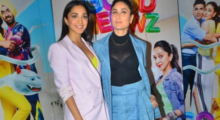"Mumbai: Actors Kareena Kapoor and Kiara Advani during media interactions for their upcoming film ""Good Newwz"" in Mumbai on Dec 16, 2019. (Photo: IANS)"